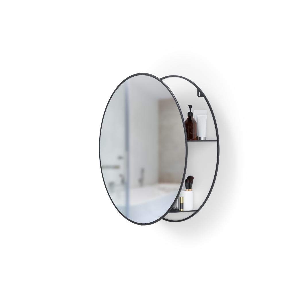 Oglinda rotunda cu spatiu depozitare Cirko H51cm imagine 2021 insignis.ro