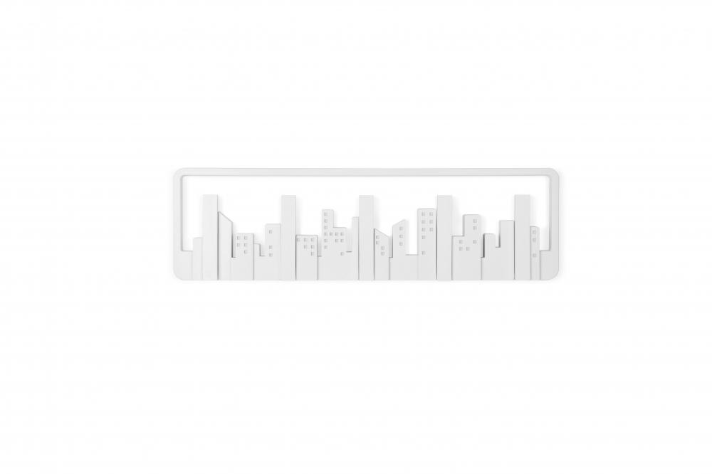 Cuier de perete cu 5 agatatori rabatabile Skyline Alb L50cm imagine 2021 insignis.ro