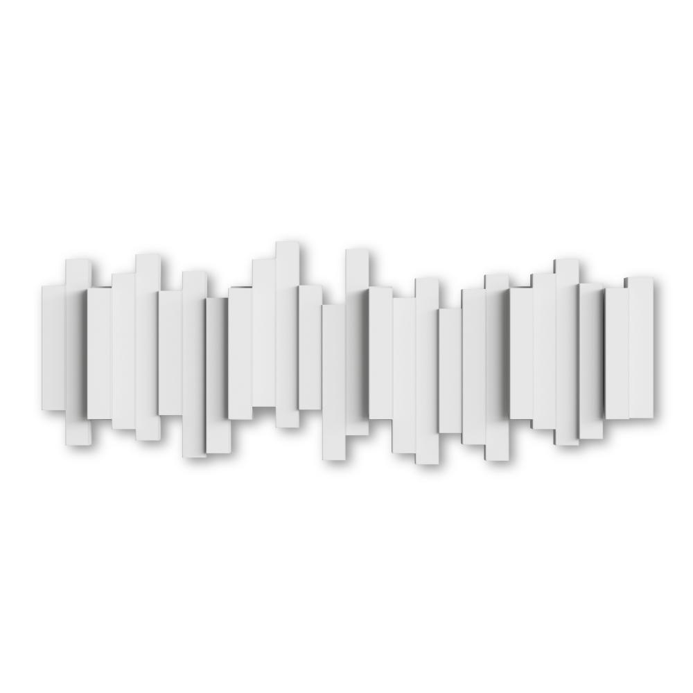 Cuier de perete agatatori rabatabile Sticks Alb L49cm imagine 2021 insignis.ro