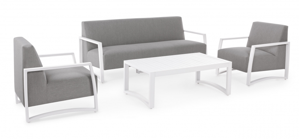 Set mobilier exterior 4 piese NIVES Alb imagine 2021 insignis.ro