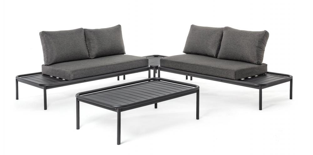 Set mobilier exterior 4 piese RODRIGO Gri imagine 2021 insignis.ro