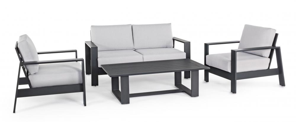 Set mobilier exterior 4 piese ATLANTIC Gri imagine 2021 insignis.ro