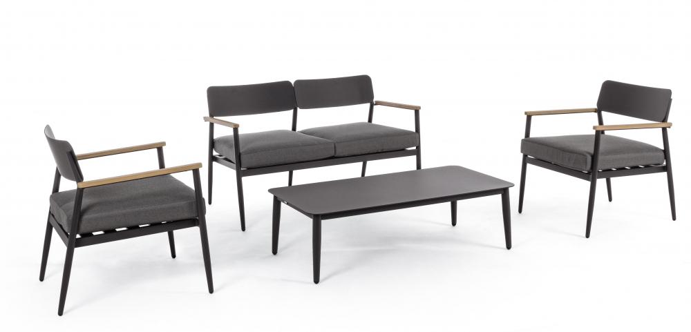 Set mobilier exterior 4 piese KASPIAN Negru imagine 2021 insignis.ro