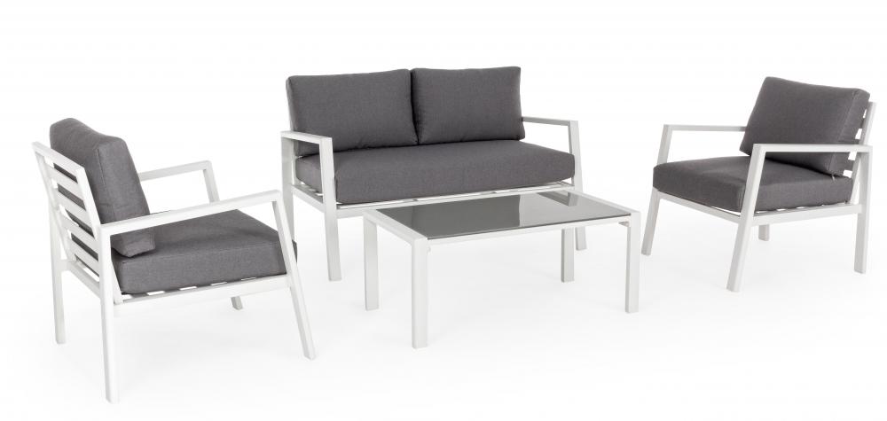 Set mobilier exterior 4 piese KORAL Alb imagine 2021 insignis.ro