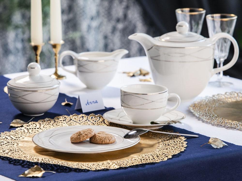 Serviciu ceai/cafea 12 persoane din portelan Ecru Karolina Amelia 29piese imagine 2021 insignis.ro