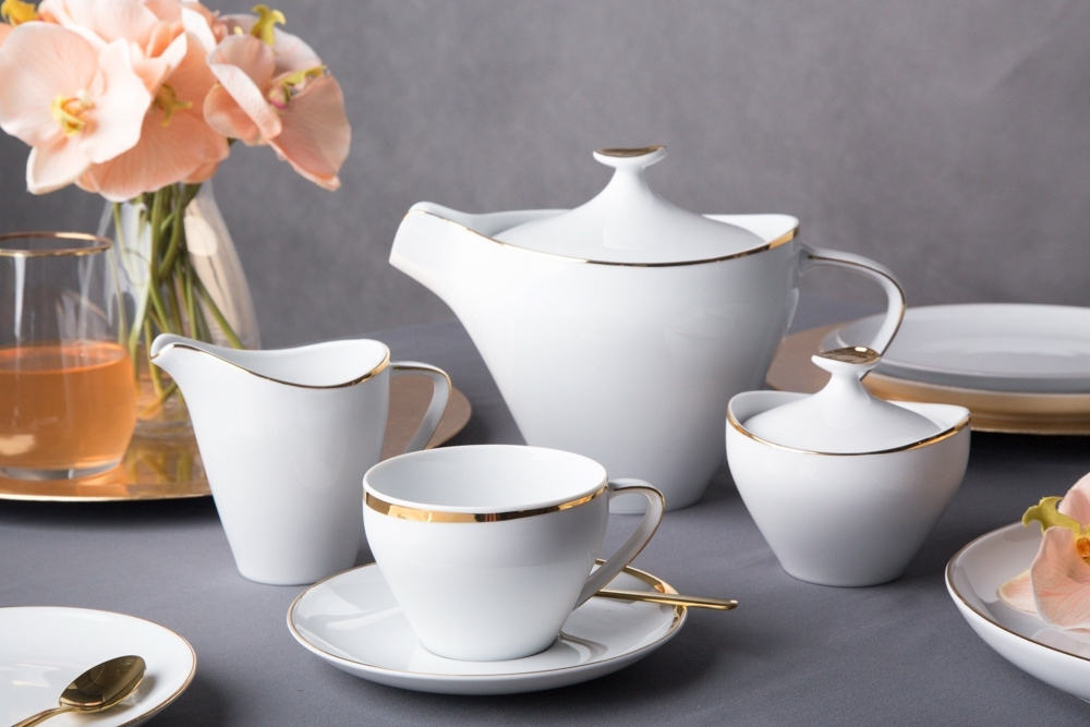 Serviciu ceai/cafea 6 persoane din portelan MariaPaula Moderna Gold 21piese imagine 2021 insignis.ro