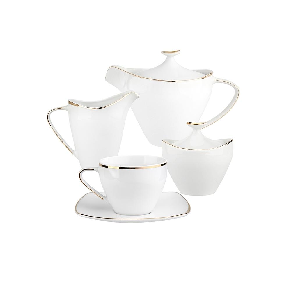 Serviciu ceai/cafea 6 persoane din portelan MariaPaula Moderna Gold 15 piese imagine 2021 insignis.ro