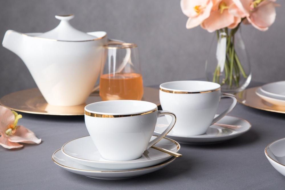 Serviciu ceai/cafea 6 persoane din portelan MariaPaula Moderna GoldLine 18piese imagine 2021 insignis.ro