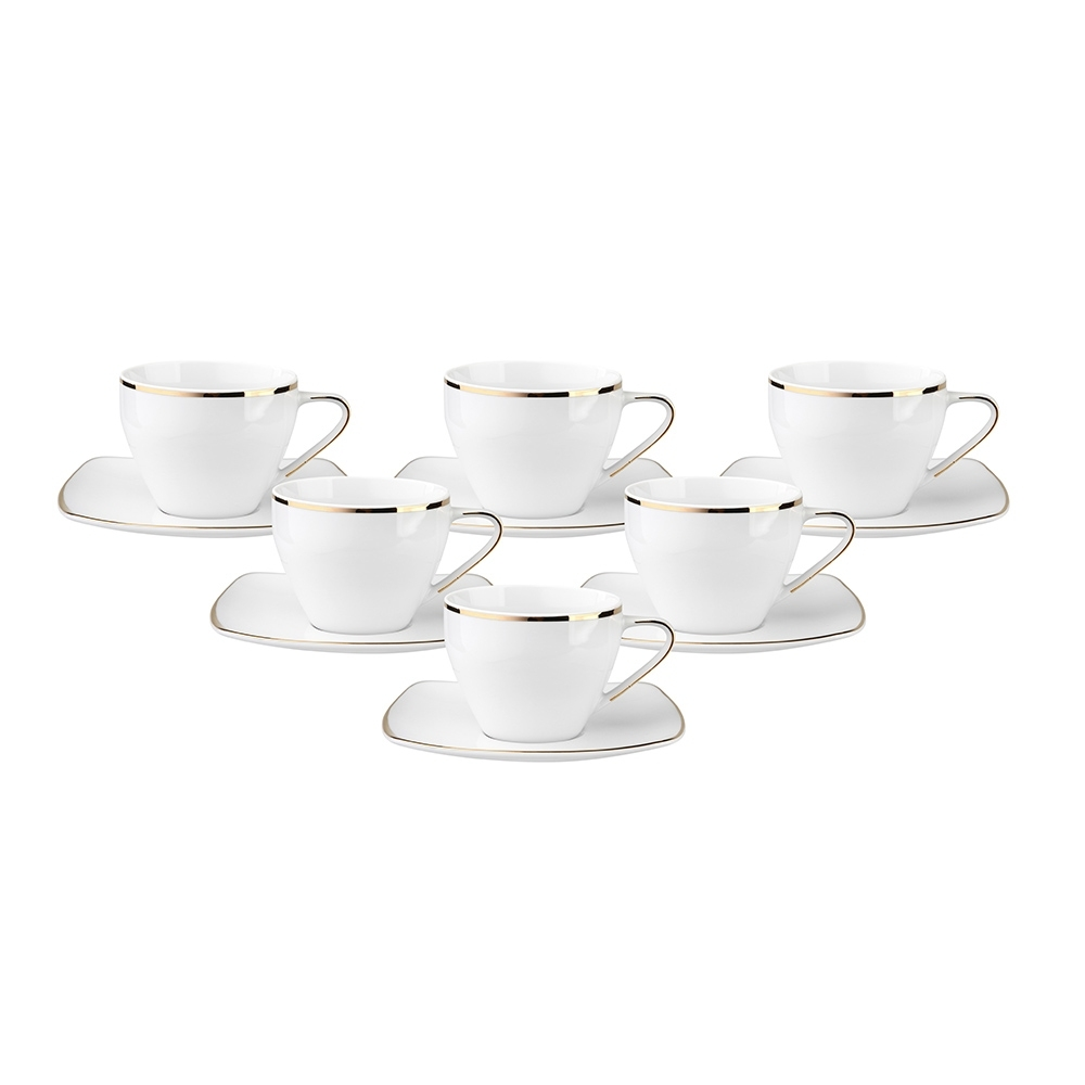 Serviciu ceai/cafea 6 persoane din portelan MariaPaula Moderna GoldLine I 12piese imagine 2021 insignis.ro