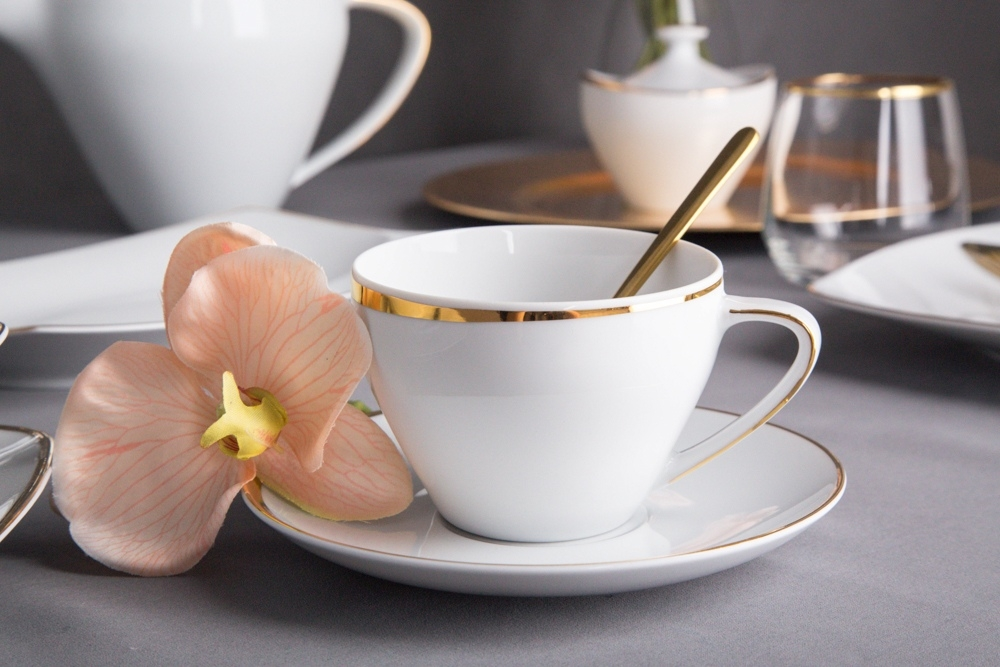 Serviciu cafea/ceai 6 persoane portelan MariaPaula Moderna GoldLine II 12piese imagine 2021 insignis.ro