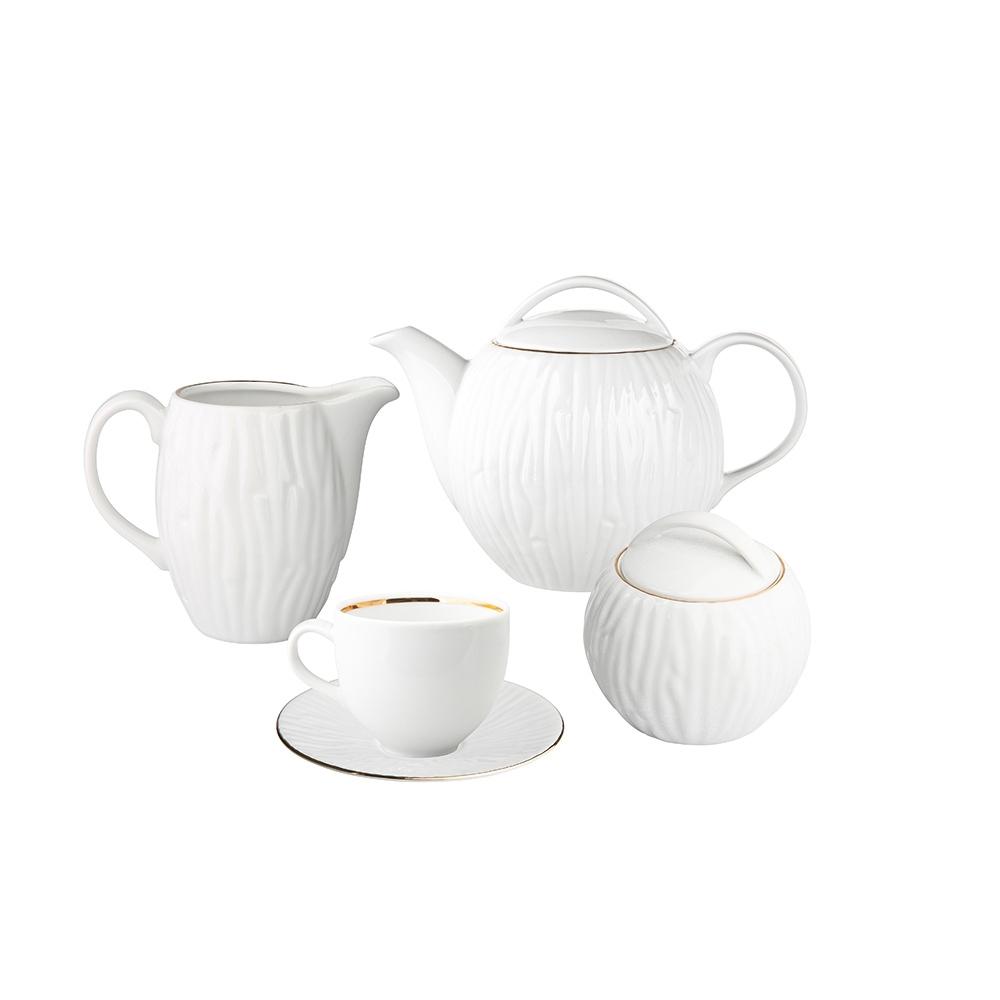 Serviciu cafea/ceai 6 persoane din portelan MariaPaula Nature GoldLine 15piese imagine 2021 insignis.ro