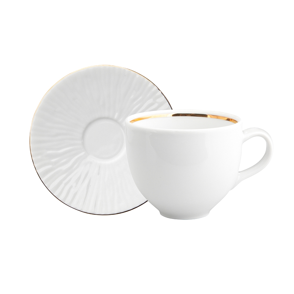 Serviciu ceai/cafea 6 persoane din portelan MariaPaula Nature GoldLine 12piese imagine 2021 insignis.ro