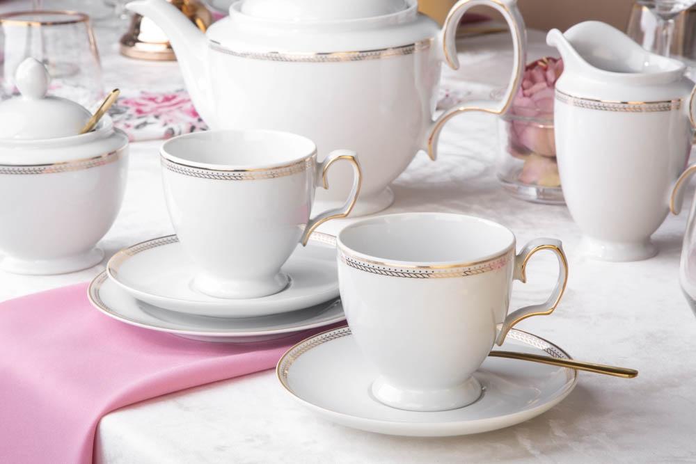 Serviciu ceai/cafea 6 persoane din portelan MariaPaula Promise 18piese imagine 2021 insignis.ro