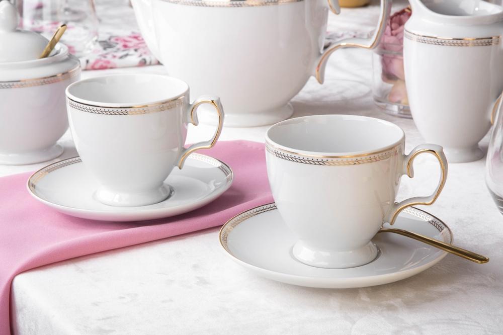 Serviciu ceai/cafea 6 persoane din portelan MariaPaula Promise 12piese imagine 2021 insignis.ro