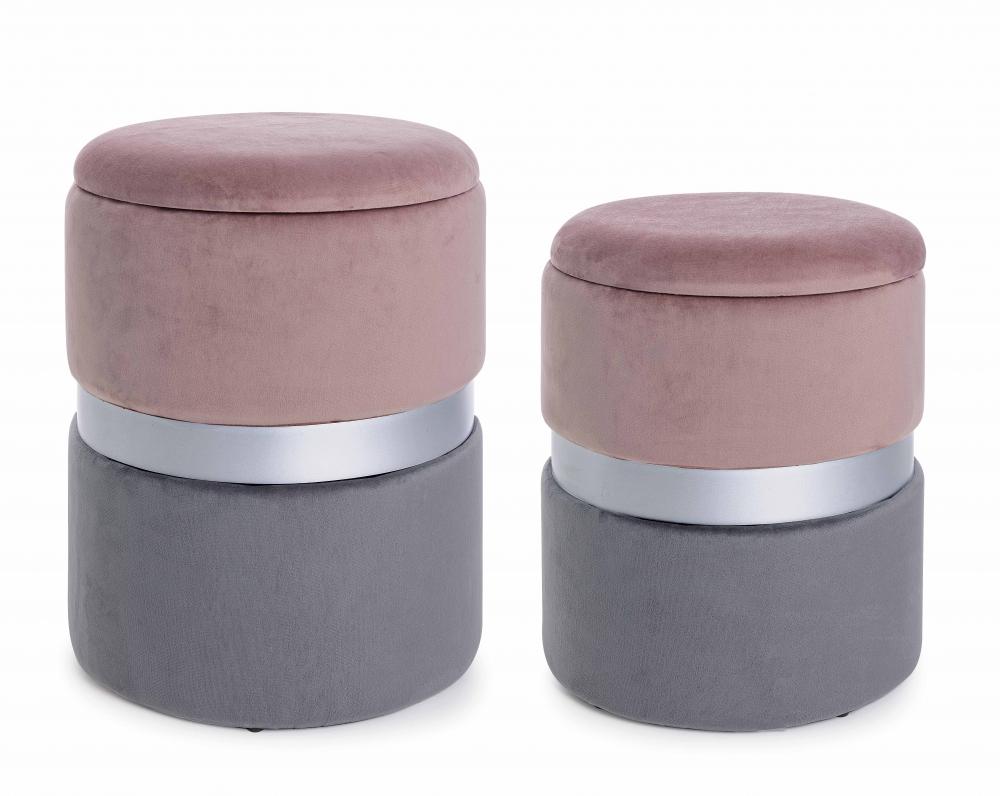 Set 2 pufuri cu spatiu de depozitare bicolore roz si gri Polina imagine 2021 insignis.ro