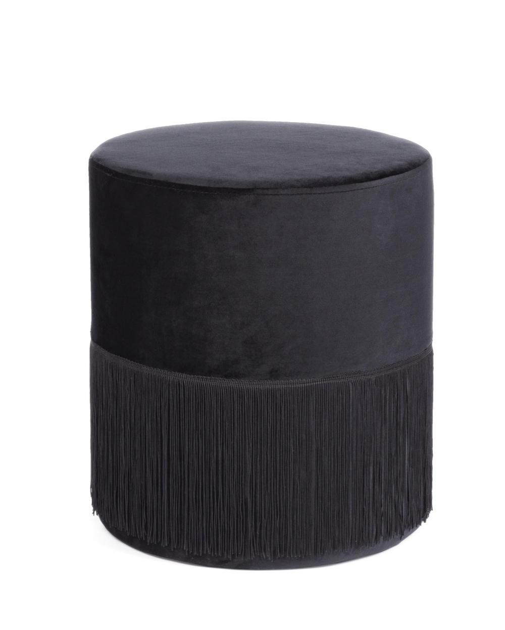Puf rotund tapitat cu catifea neagra Leilani D38cm imagine 2021 insignis.ro
