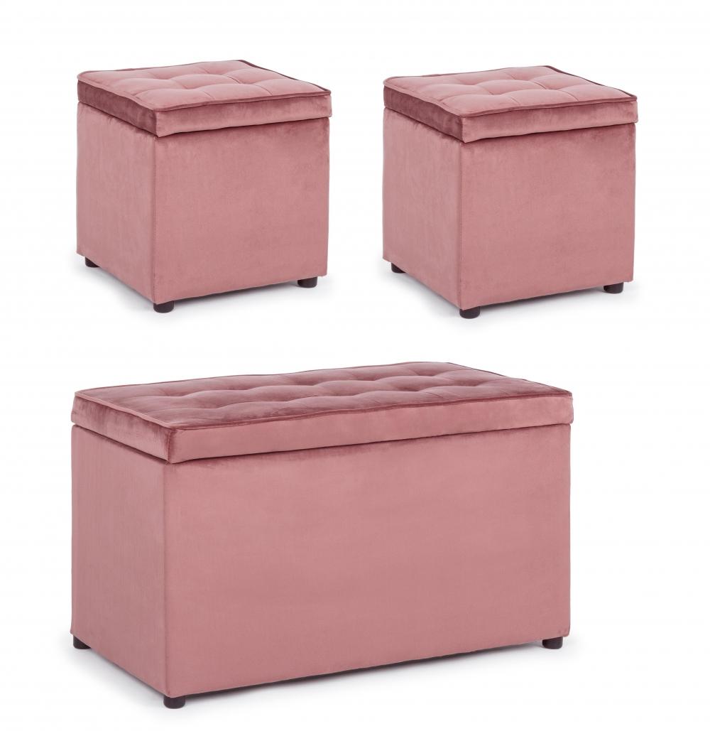 Set 3 piese Otoman si 2 pufuri tapitate cu catifea roz pudra Bellville imagine 2021 insignis.ro