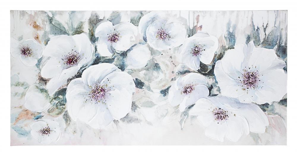 Tablou pictat in ulei pe panza Summer Flowers Village 140x70cm imagine 2021 insignis.ro