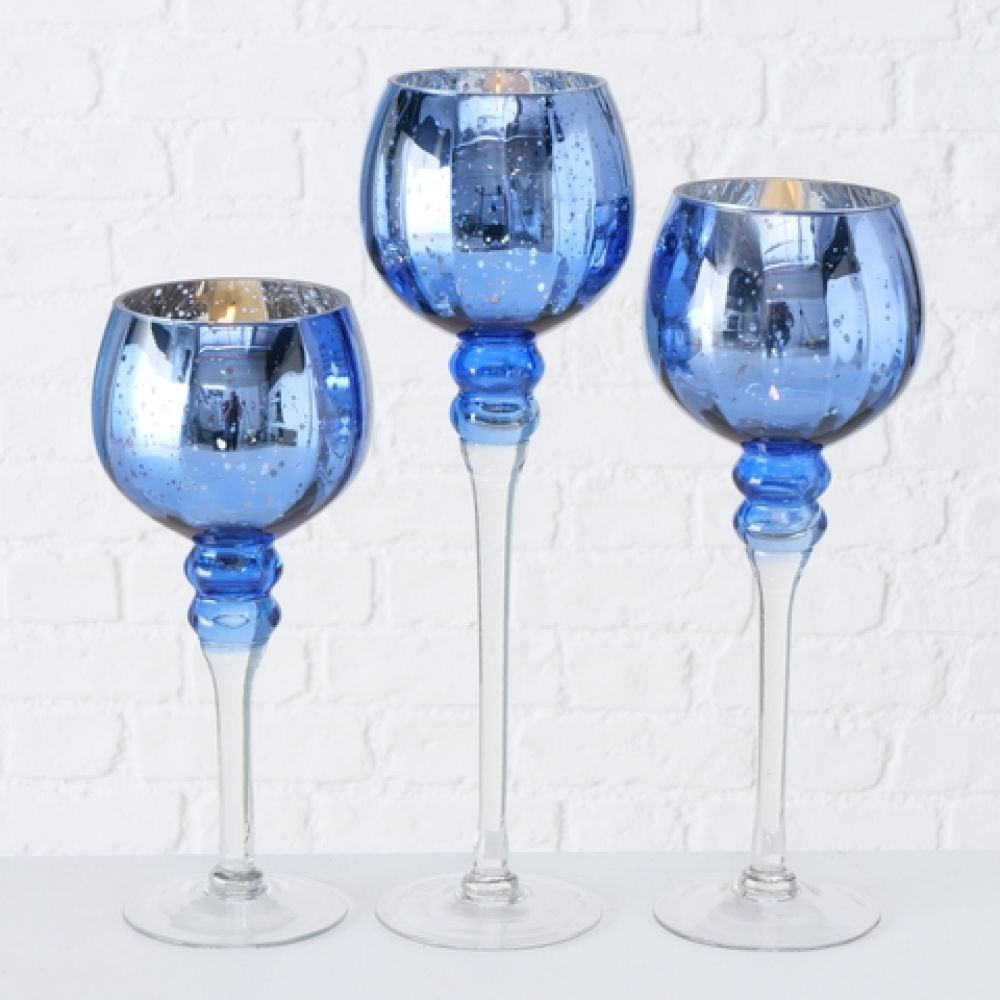 Suport lumanare Manou set 3 piese H30-40cm albastru regal imagine 2021 insignis.ro