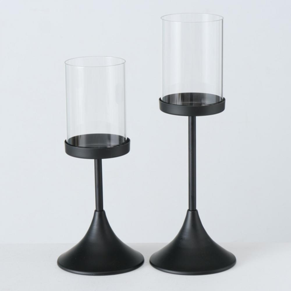 Set 2 suporturi lumanari Nouveau negru H27-33cm imagine 2021 insignis.ro