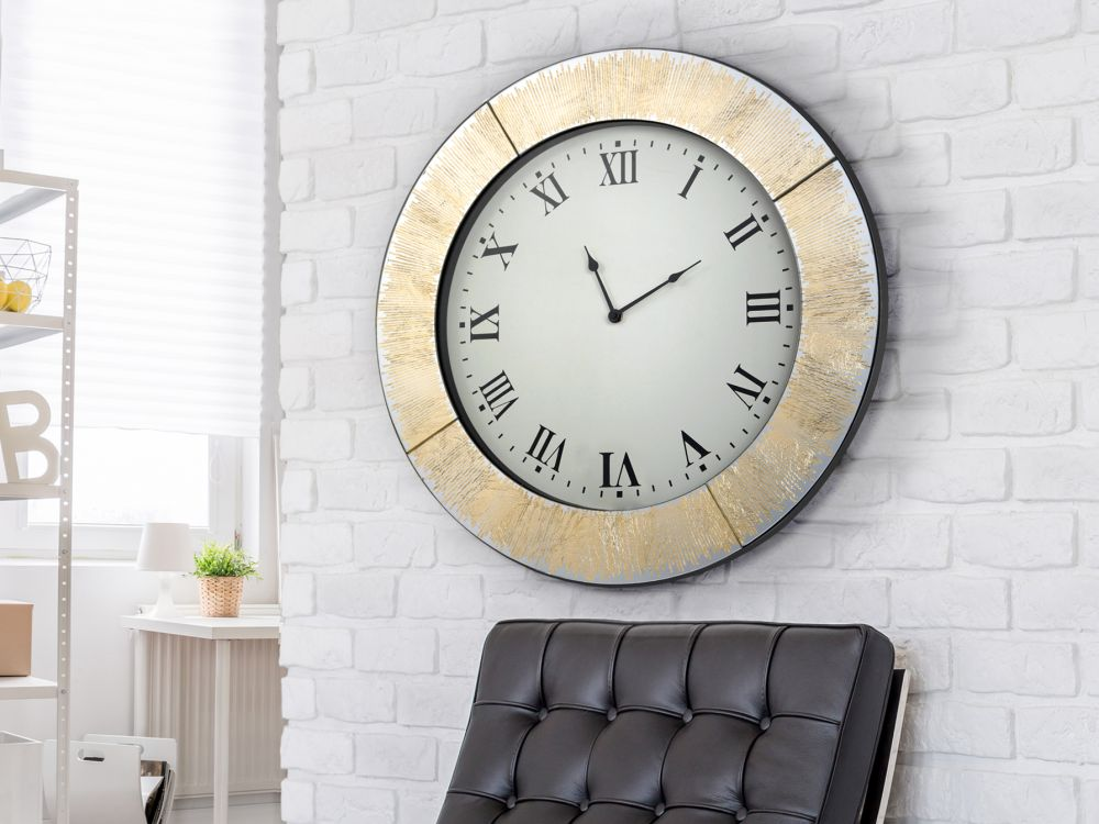 Ceas de perete decorativ Aurora finisaj foita de aur D60cm imagine 2021 insignis.ro