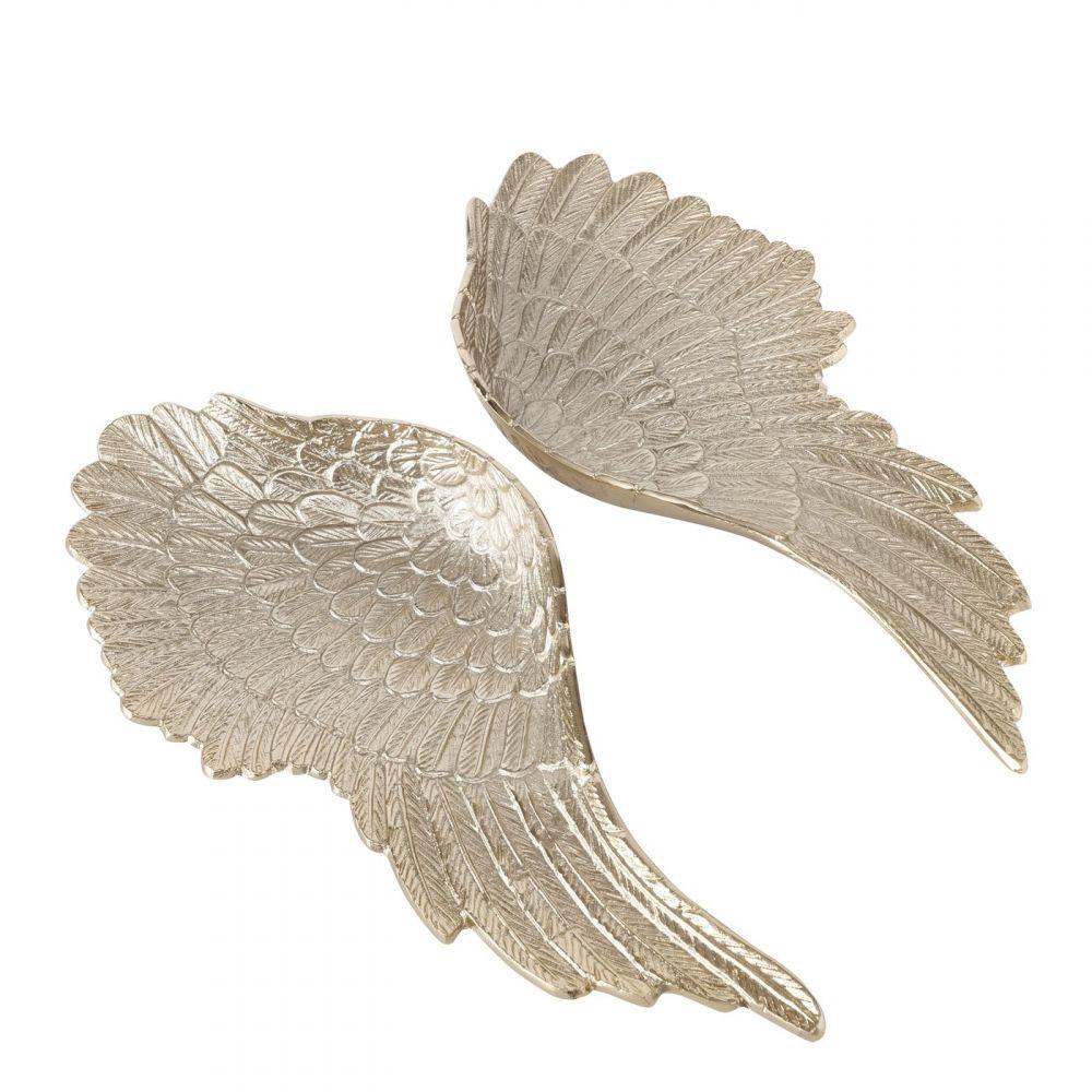 Set 2 tavi decorative Aripi de Inger auriu sampanie H6cm imagine 2021 insignis.ro