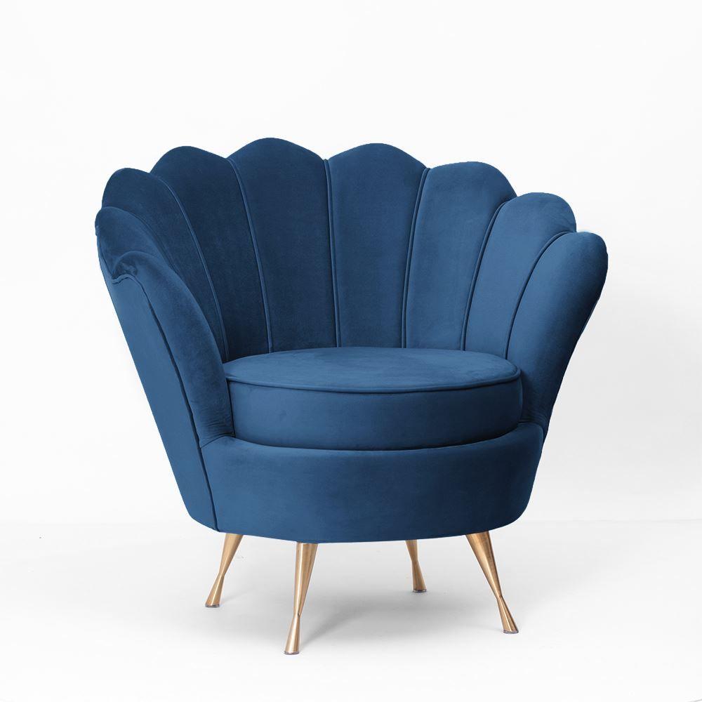 Fotoliu Muse albastru navy - picioare aurii imagine 2021 insignis.ro