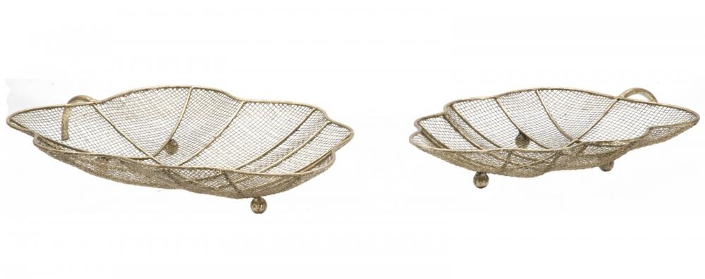 Set 2 tavi decorative metalice Leaf auriu imagine 2021 insignis.ro