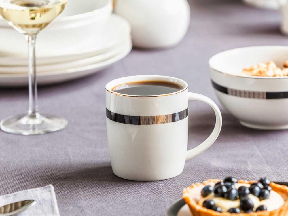Cana ceai/cafea din portelan Bella Chic 300ml ecru imagine 2021 insignis.ro