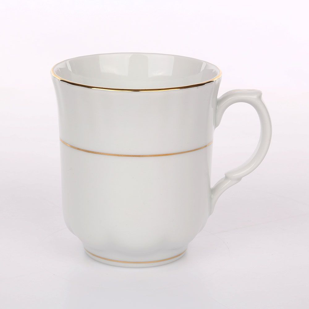 Cana de cafea/ceai din portelan decorata cu elemente aurii Iwona 300ml imagine 2021 insignis.ro