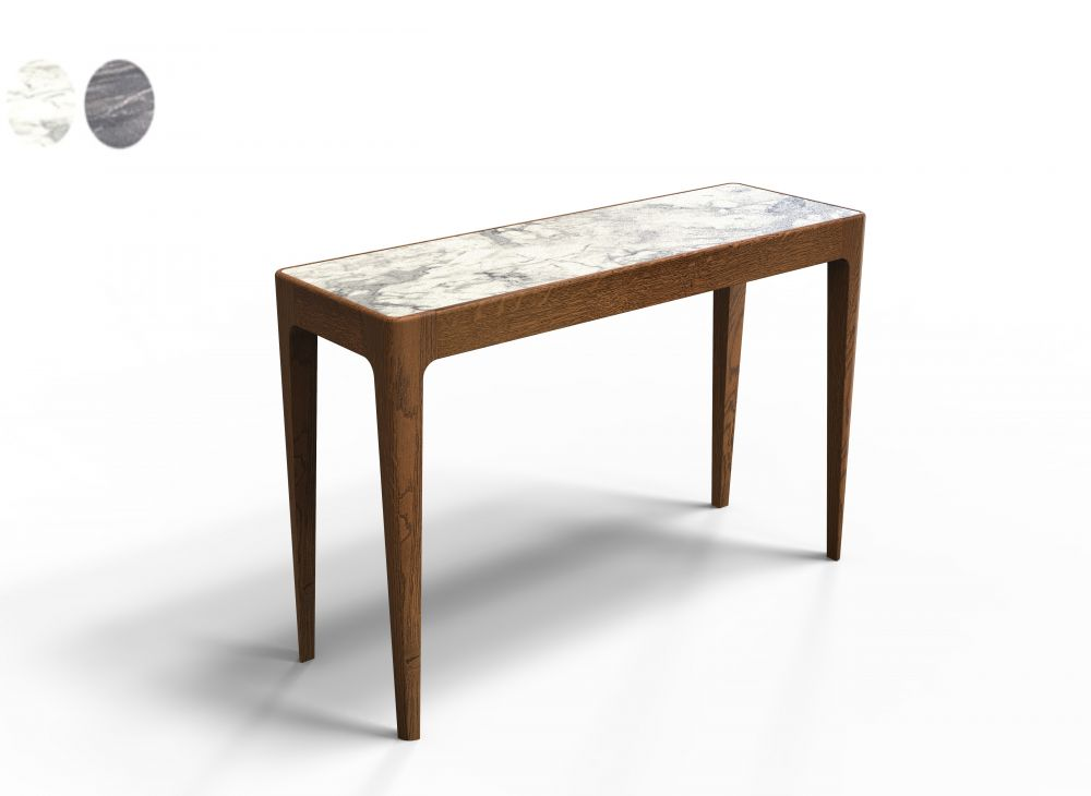 Consola Timeless din lemn masiv de stejar blat sticla cu aspect marmura L120cm imagine 2021 insignis.ro