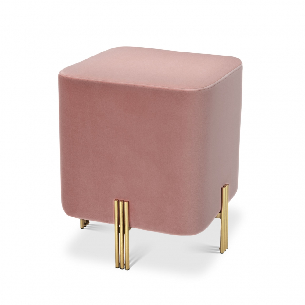 Taburet tapitat cu catifea roz Burnett H45cm imagine 2021 insignis.ro