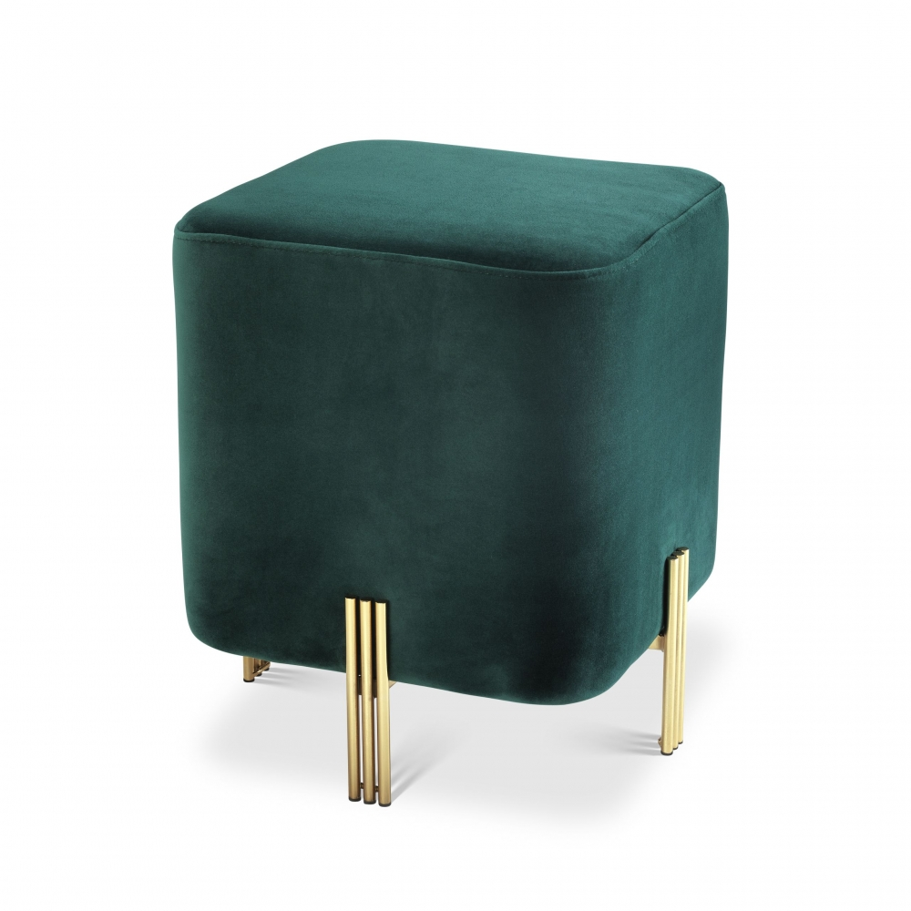 Taburet tapitat cu catifea verde inchis Burnett H45cm imagine 2021 insignis.ro
