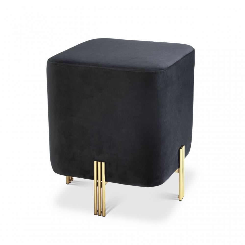 Taburet tapitat cu catifea neagra Burnett H45cm imagine 2021 insignis.ro