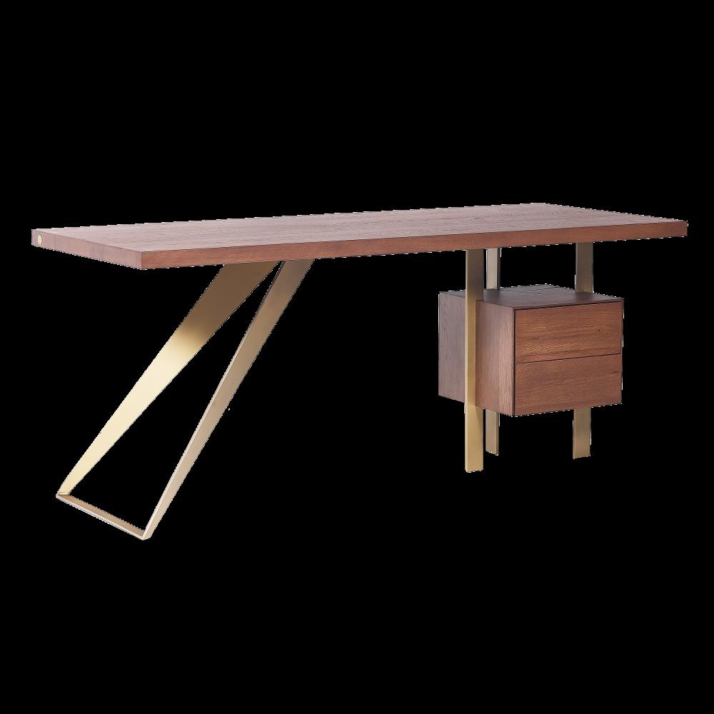 Birou din lemn masiv de stejar cu 2 sertare Nature Elegance imagine 2021