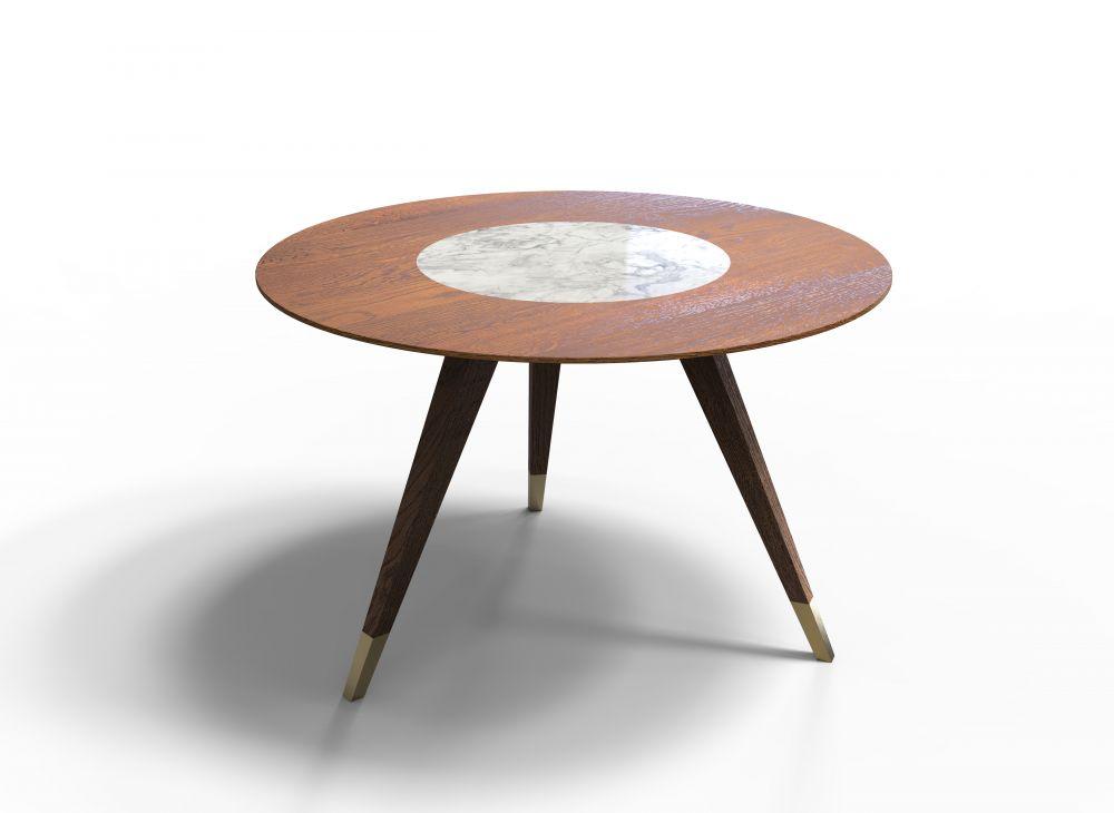 Masa rotunda din lemn masiv de stejar si insertie de sticla cu aspect de marmura Modern Times D120cm imagine 2021 insignis.ro