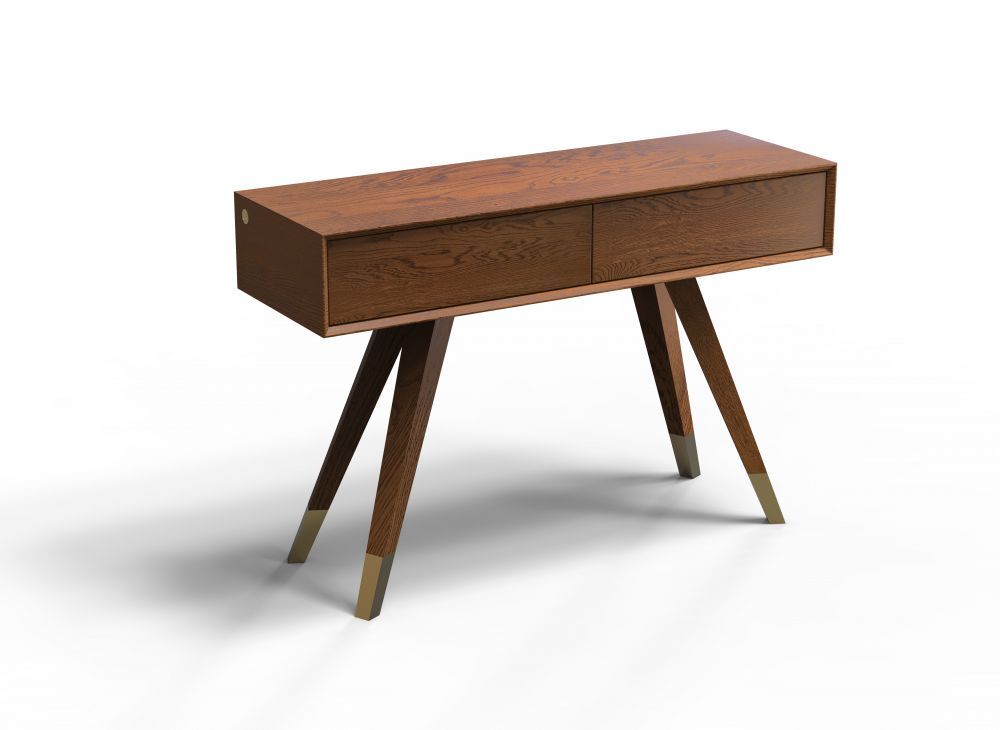 Consola din lemn masiv de stejar cu 2 sertare Modern Times imagine 2021 insignis.ro