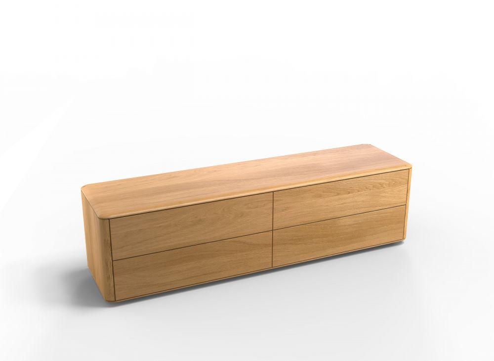Comoda TV din lemn masiv de stejar finisaj natural cu 4 sertare Chill Out