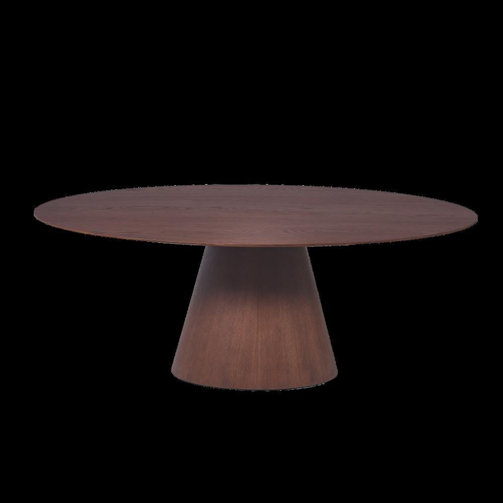 Masa ovala din lemn masiv de stejar finisaj nuc Chill Out imagine 2021 insignis.ro