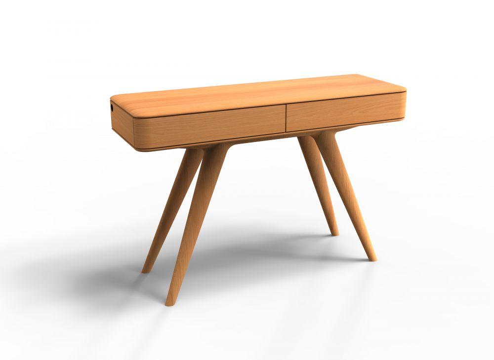 Consola din lemn masiv de stejar cu 2 sertare finisaj natural Chill Out imagine 2021 insignis.ro