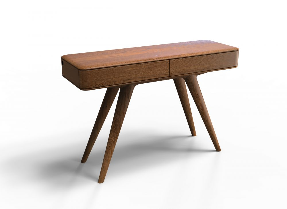 Consola din lemn masiv de stejar cu 2 sertare finisaj nuc Chill Out imagine 2021 insignis.ro
