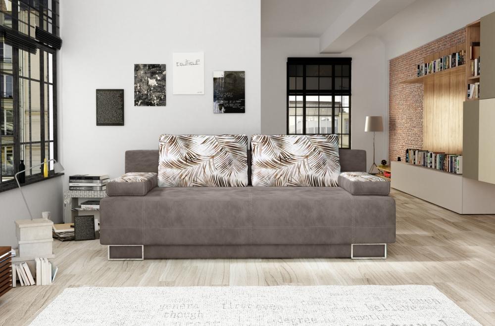 Canapea extensibila 2 locuri Vegas cu perne decorative si lada depozitare L197cm imagine 2021 insignis.ro