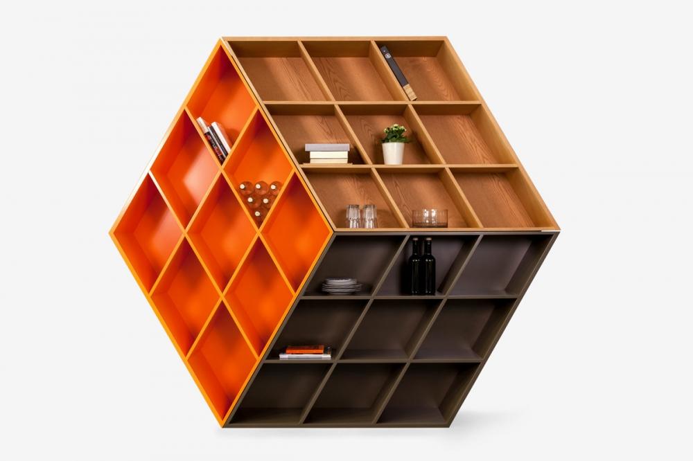 Biblioteca din lemn masiv de frasin Rubik imagine 2021 insignis.ro