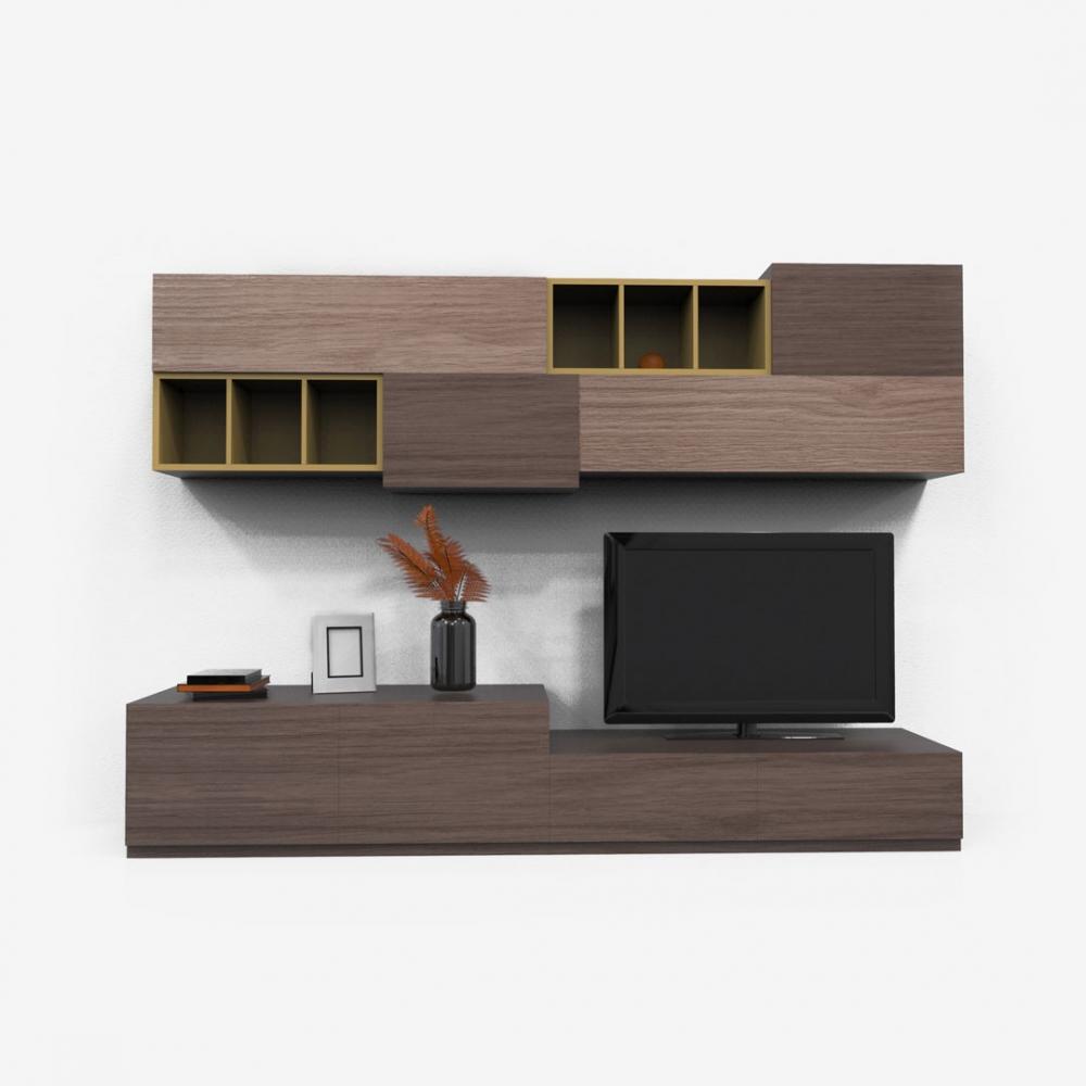 Set mobilier living comoda TV si raft suspendat Cuda L240cm imagine 2021 insignis.ro