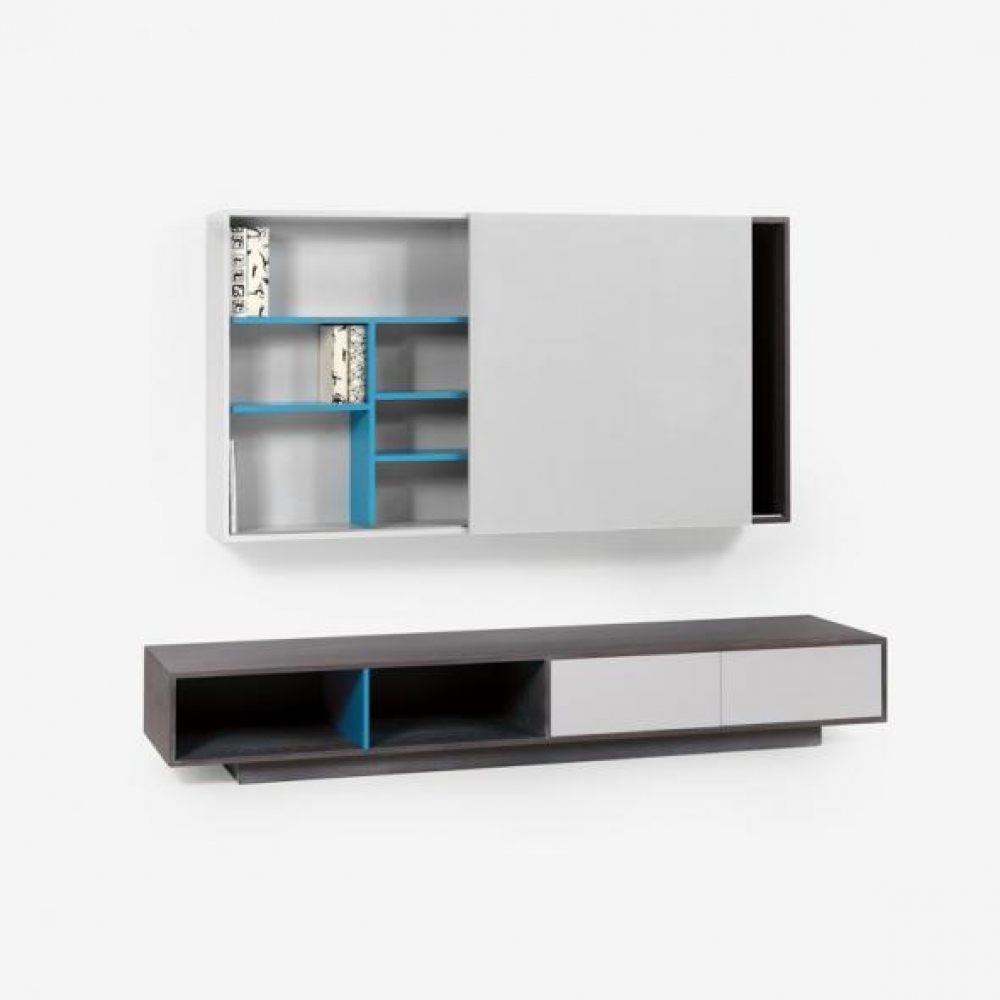 Set mobilier living comoda TV si raft suspenda Slide L240cm imagine 2021 insignis.ro