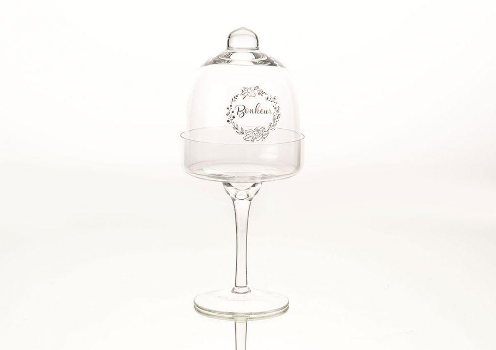 Suport pentru prajituri cu capac sticla transparenta Bonheur H26cm imagine 2021 insignis.ro