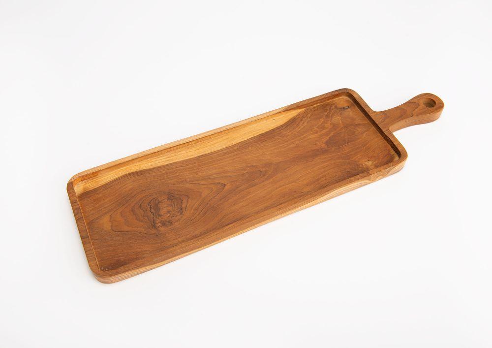Platou servire din lemn de tec Manche L50cm imagine 2021 insignis.ro