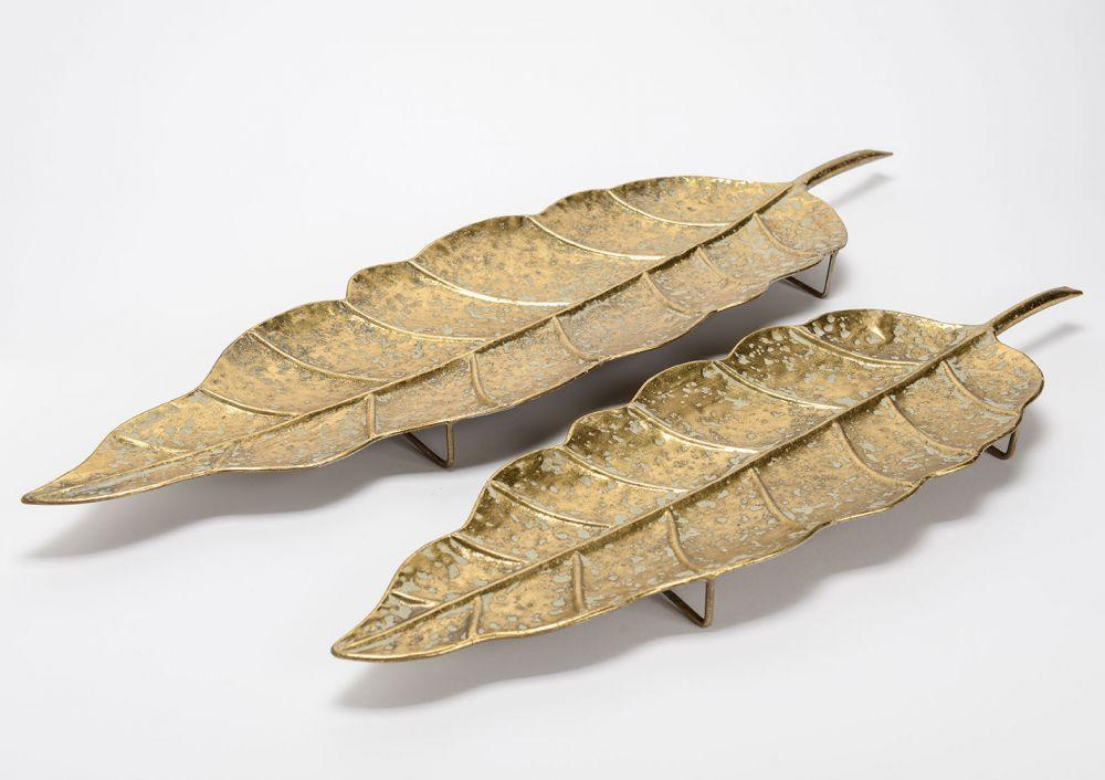 Set 2 platouri decorative Frunze aurii imagine 2021 insignis.ro