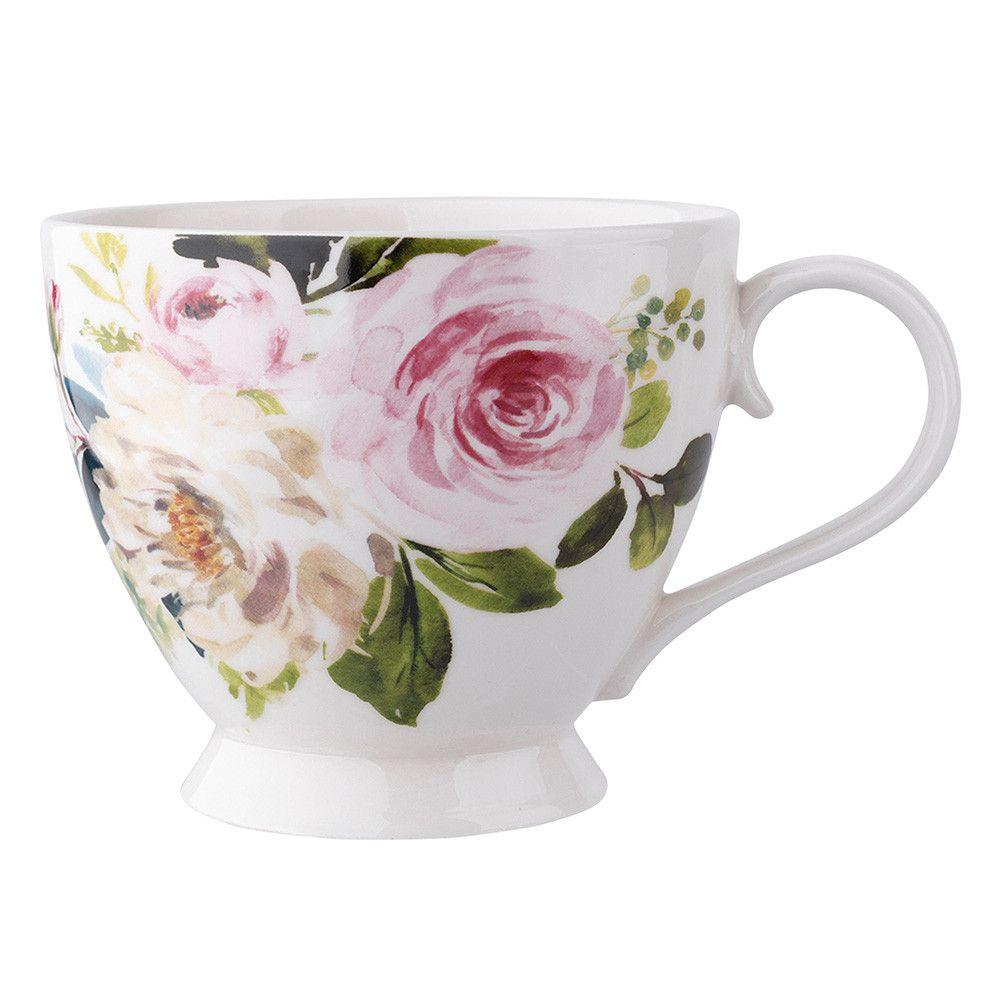 Ceasca mare pentru cafea/ceai cu picior din portelan Amelia 400 ml alb imagine 2021 insignis.ro