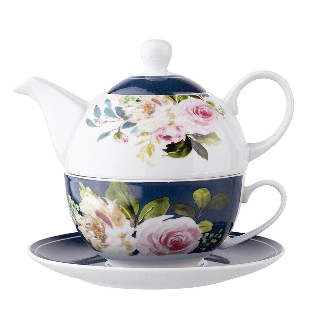 Set servire ceai ceainic cu ceasca pentru o persoana din portelan Amelia imagine 2021 insignis.ro